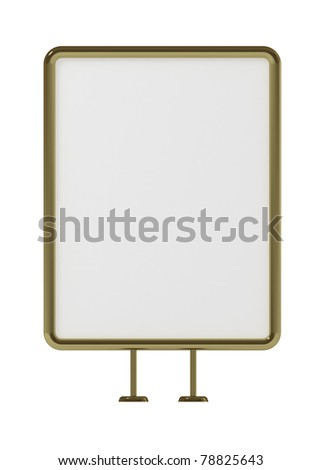 Blank board for advertisement, golden frame, front view, isolated on white, with clipping path, 3d illustration