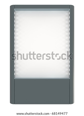 Blank board for advertisement, lamps highlights, isolated on white with clipping path - stock photo