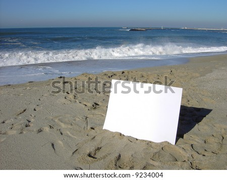 blank board in the beach