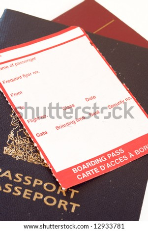 blank boarding pass on passport on white background