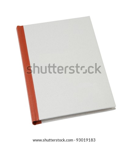 blank book cover made of recycled paper isolated on white background