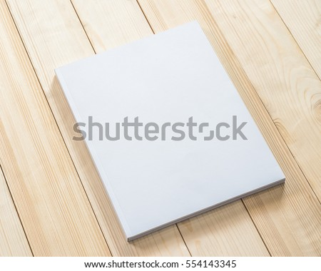 Blank book cover mockup template with page front side on white wood  #554143345