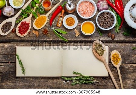 Blank book  recipes and various spices. Food background with copyspace - Shutterstock ID 307905548