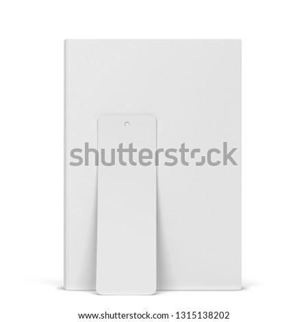 Blank book with a bookmark mockup. 3d illustration isolated on white background