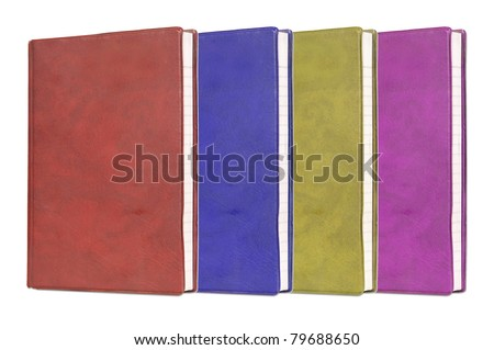 Blank book with color cover on white background. - stock photo