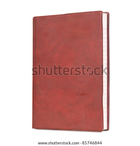 Blank book with red color cover on white background.