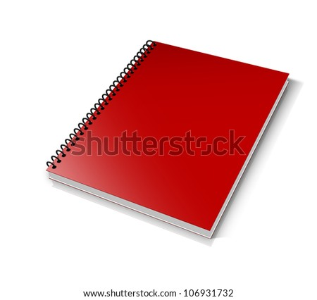 Blank book with red cover on white background.