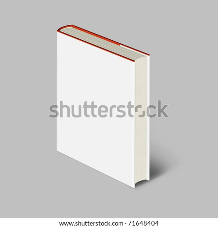 Blank book with white cover on gray background.