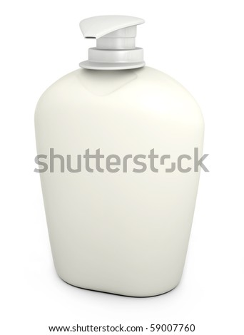 Blank bottle of liquid soap against a white background. 3D rendered image.