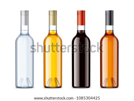 Blank bottles for alcohol drinks  #1085304425