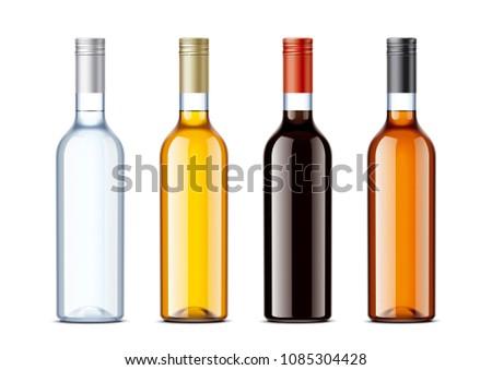 Blank bottles for alcohol drinks  #1085304428