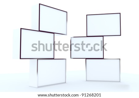 blank box display new design aluminum frame template for design work,isolate on white background.