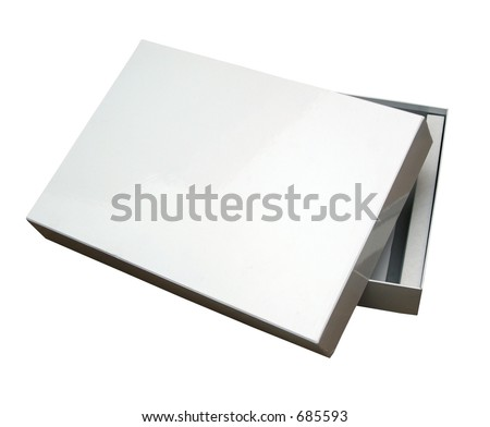 Blank box isolated on white with a clipping path (Insert your own design or content).