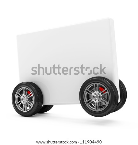 Blank Box on Wheels isolated on white background