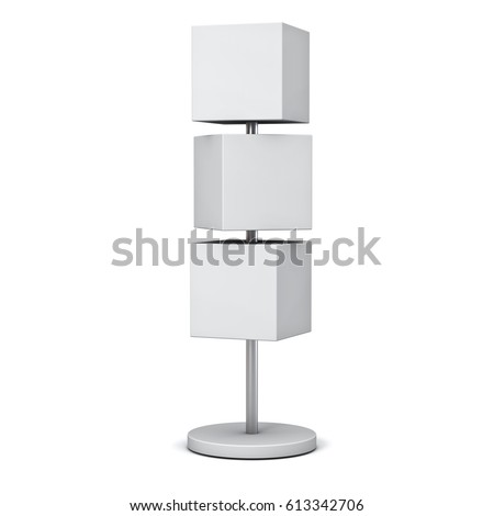 Blank box signboards with pole stand , blank mock up , signage boards or advertising square billboard boxes isolated on white background . 3D rendering.