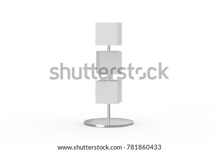 Blank box signboards with pole stand , blank mock up , signage boards or advertising square billboard boxes isolated on white background, 3d illustration