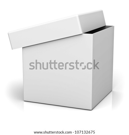 Blank box with cover on white background with reflection