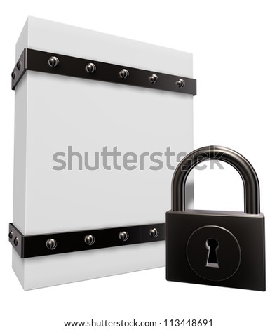 blank box with riveted iron bands and padlock - 3d illustration