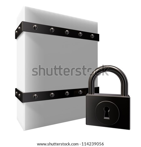 blank box with riveted iron bands and padlock - 3d illustration - stock photo