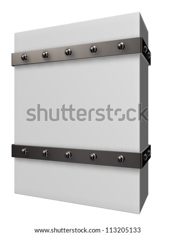 blank box with riveted iron bands - 3d illustration