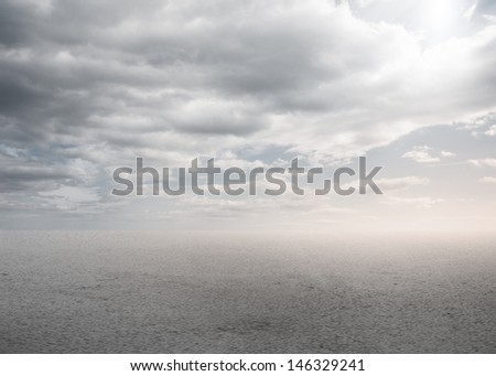 Blank bright desert with clouds