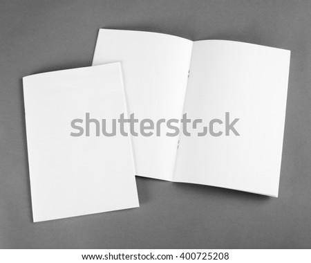 blank brochure on grey...