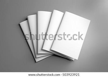 Blank brochures on grey background #503923921
