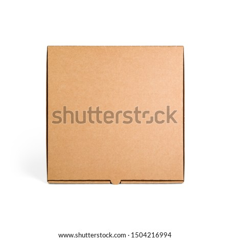 Blank brown cardboard Pizza paper box isolated on white background. Packaging template mockup collection. Stand-up Front view package. Foto stock ©