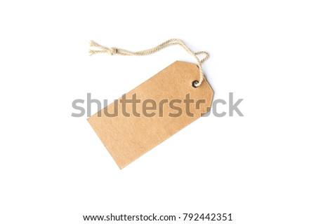 Blank brown cardboard price tag or label with thread isolated white background.price tag #792442351