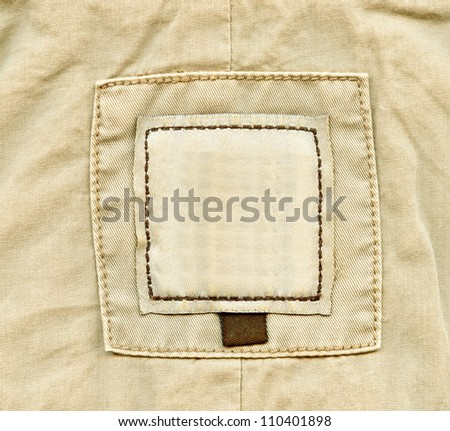 Blank brown jeans label background - stock photo