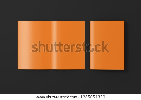Blank brown open and folded half-folded flyer leaflet on black background. With clipping path around brochure. 3d illustration
