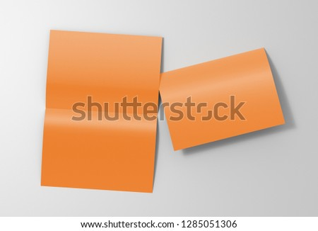 Blank brown open and folded half-folded flyer leaflet on white background. With clipping path around brochure. 3d illustration