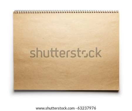 Blank brown paper scrap book isolated on white. - stock photo