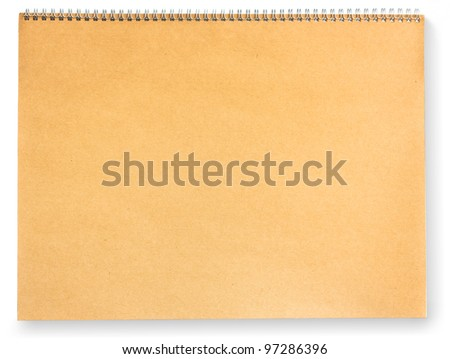 Blank brown paper scrap book isolated on white