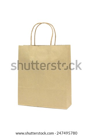 Blank Brown Paper Shopping Bag Isolated White Background