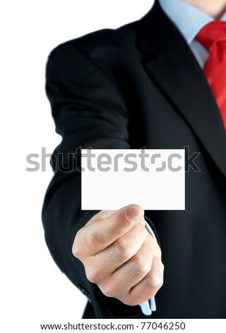 Blank business card in a businessman's hand
