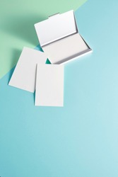 Blank business card on colorful background, business concept.