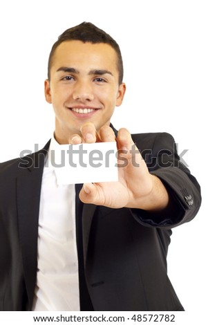 Blank business card presented by a businessman over white