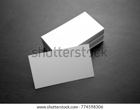 Blank business cards on a black background, identity design, corporate templates, company style #774598306
