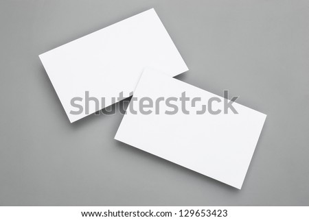 blank business cards on grey background, good for texte & logo