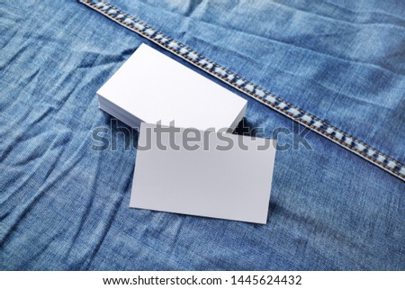 Blank business cards template on denim background. Template for graphic designers portfolios. #1445624432