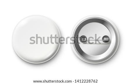 Blank button badge. White pinback badges, pin button and pinned back. Round metal buttons or glossy circle plastic 3D pin. Realistic isolated  mockup