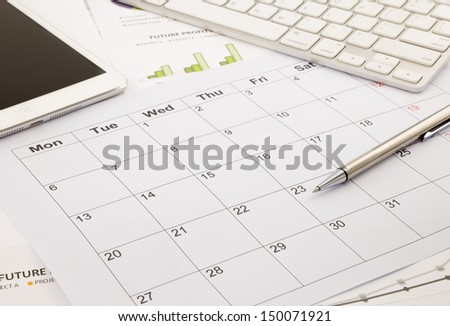 blank calendar for note, work management with timetable