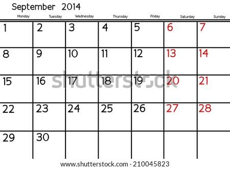 Blank Calendar of September 2014