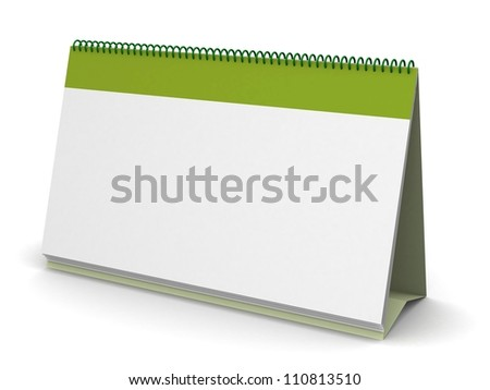 Blank calendar on isolated white background