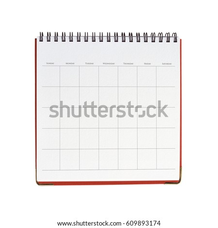 Blank calendar template isolated on white background with clipping mask.  #609893174