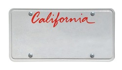 Blank California license plate isolated on white background