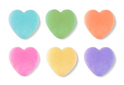 Blank Candy Valentines Hearts Isolated on White Background.