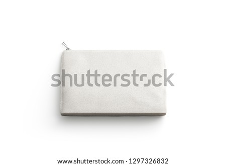 Blank canvas clutch for cosmetic mock up, isolated, 3d rendering. Empty small sac mockup, top view. Clear cotton wallet or purse template. Soft beauty accessory.