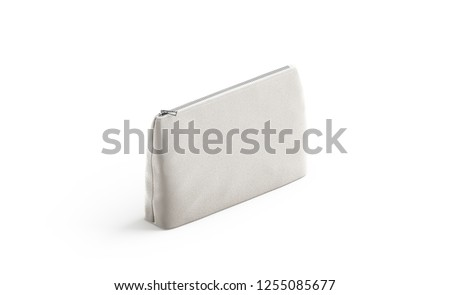 Blank canvas pouch for cosmetics mock up, isolated, 3d rendering. Empty linen beautician bag with zip mockup, side view. Clear cotton woman purse for makeup template. Foto stock ©
